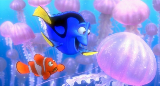 marlin and dory and jellyfish
